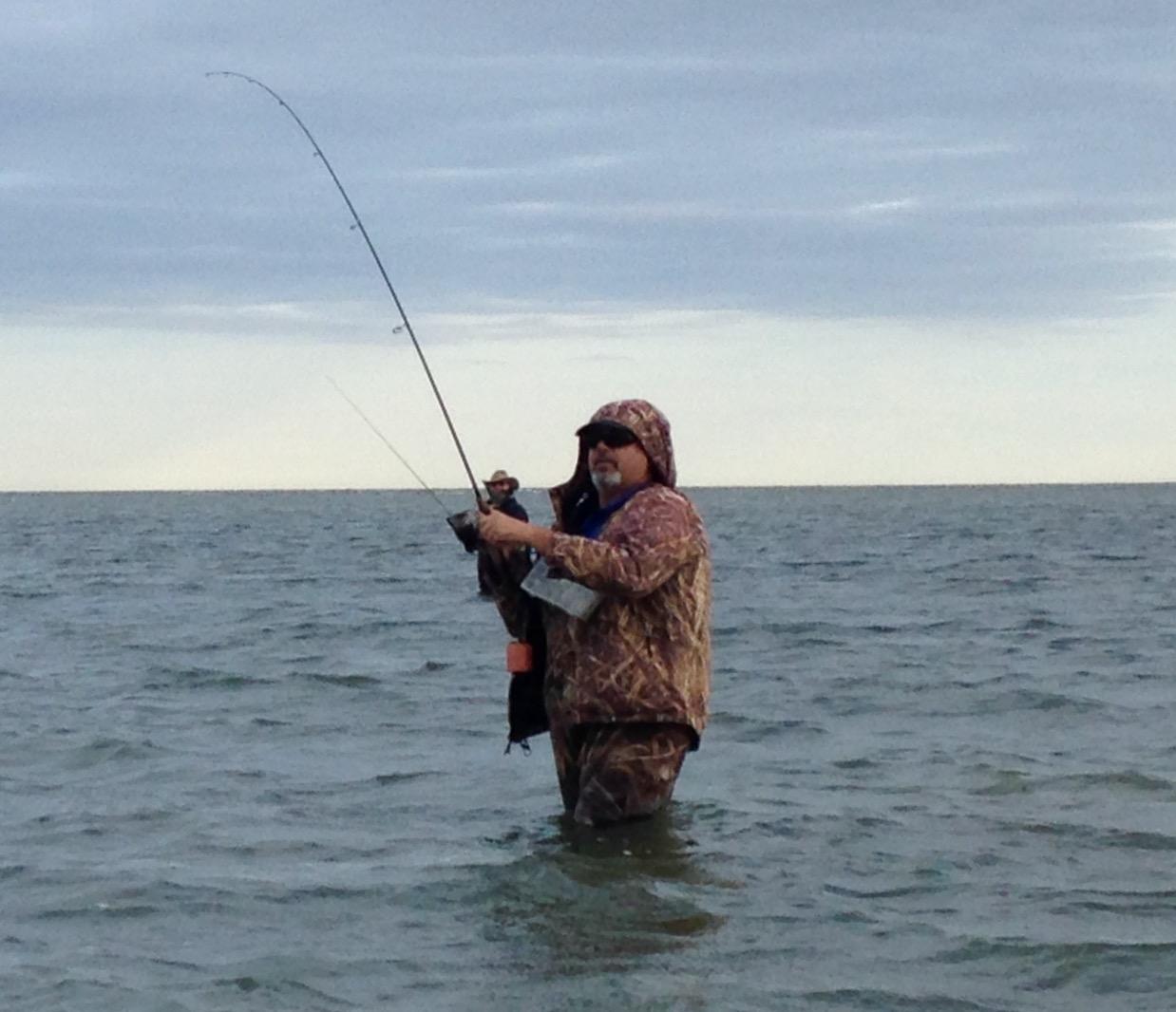 Winter wade fishing